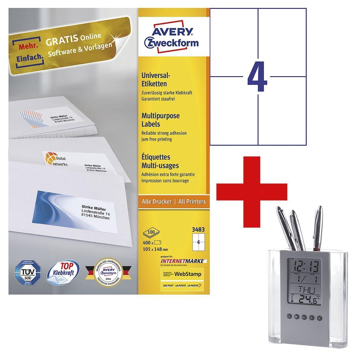 Avery Zweckform 400er-Pack Universal Klebeetiketten inkl. Stifteköcher »3483« 1 Set