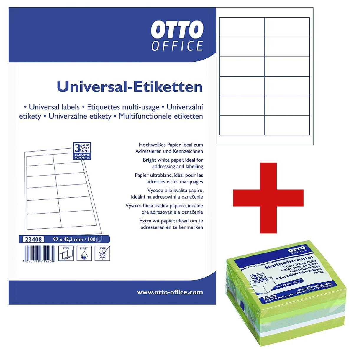 OTTO Office Standard 1200er-Pack Universal Klebeetiketten inkl. Haftnotizwürfel 1 Set