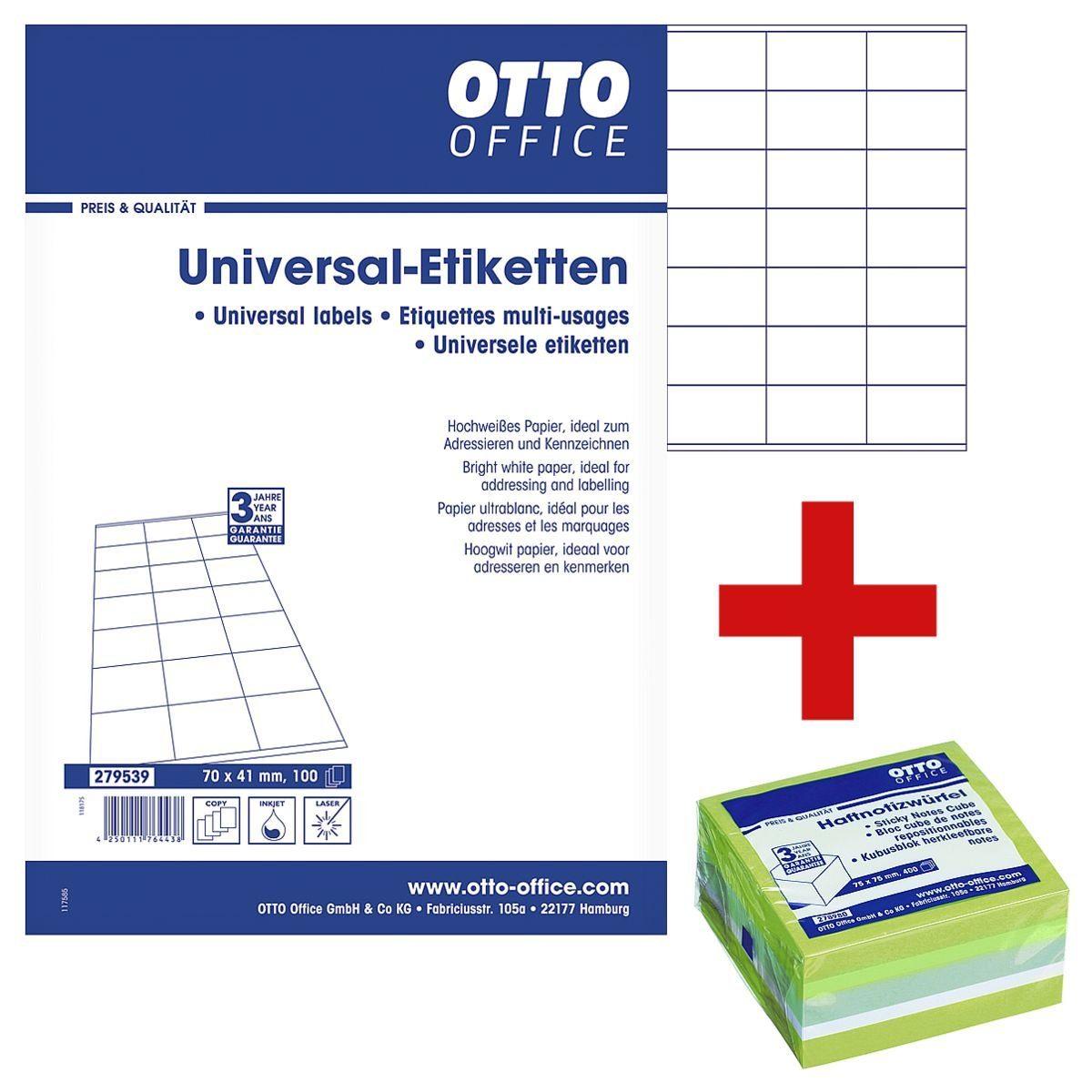 OTTO Office Standard 2100er-Pack Universal Klebeetiketten inkl. Haftnotizwürfel 1 Set