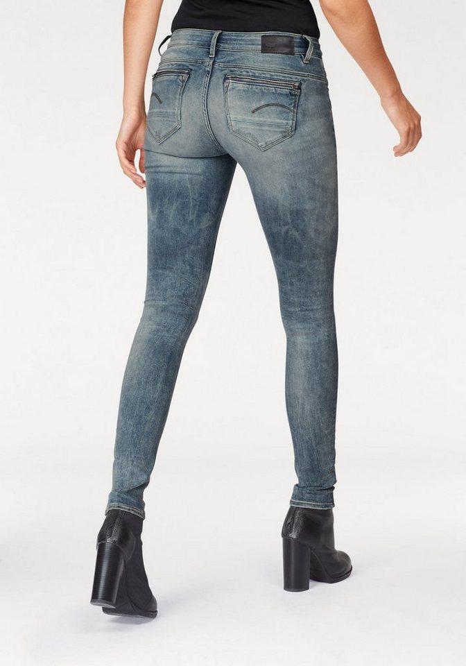 g star raw skinny fit jeans midge zip mit rei verschluss. Black Bedroom Furniture Sets. Home Design Ideas