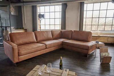 KAWOLA Sofa »VILNIUS«, Ecksofa Kentucky cognac Recamiere links o. rechts