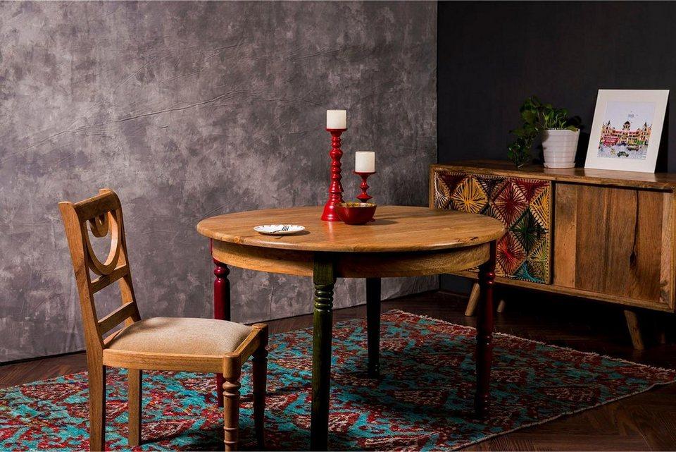 home affaire esstisch fiore mit runder tischplatte und vier verschieden farbigen tischbeinen. Black Bedroom Furniture Sets. Home Design Ideas