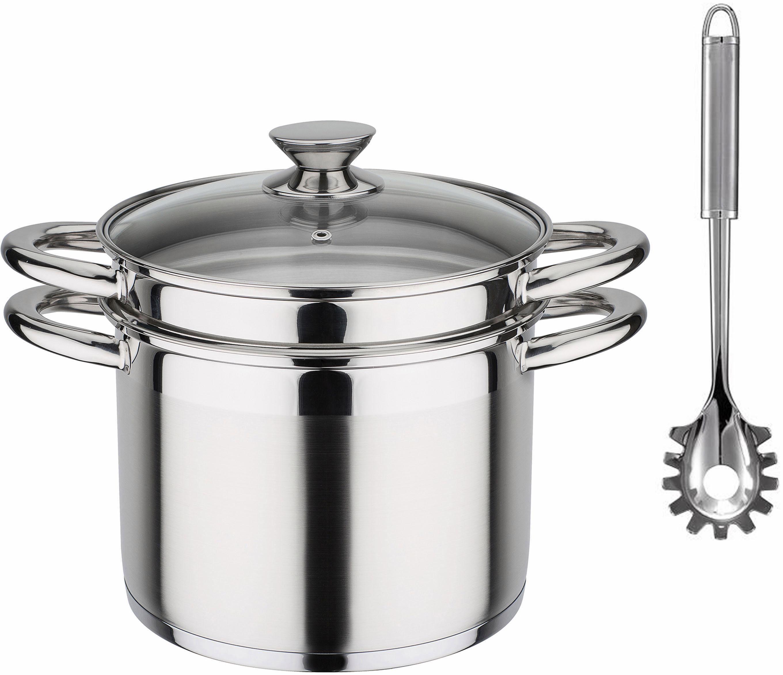 GSW Pasta-Topf, Edelstahl rostfrei 18/8, Induktion, 6,5 Liter, inkl. Pastalöffel, »TREVISO«