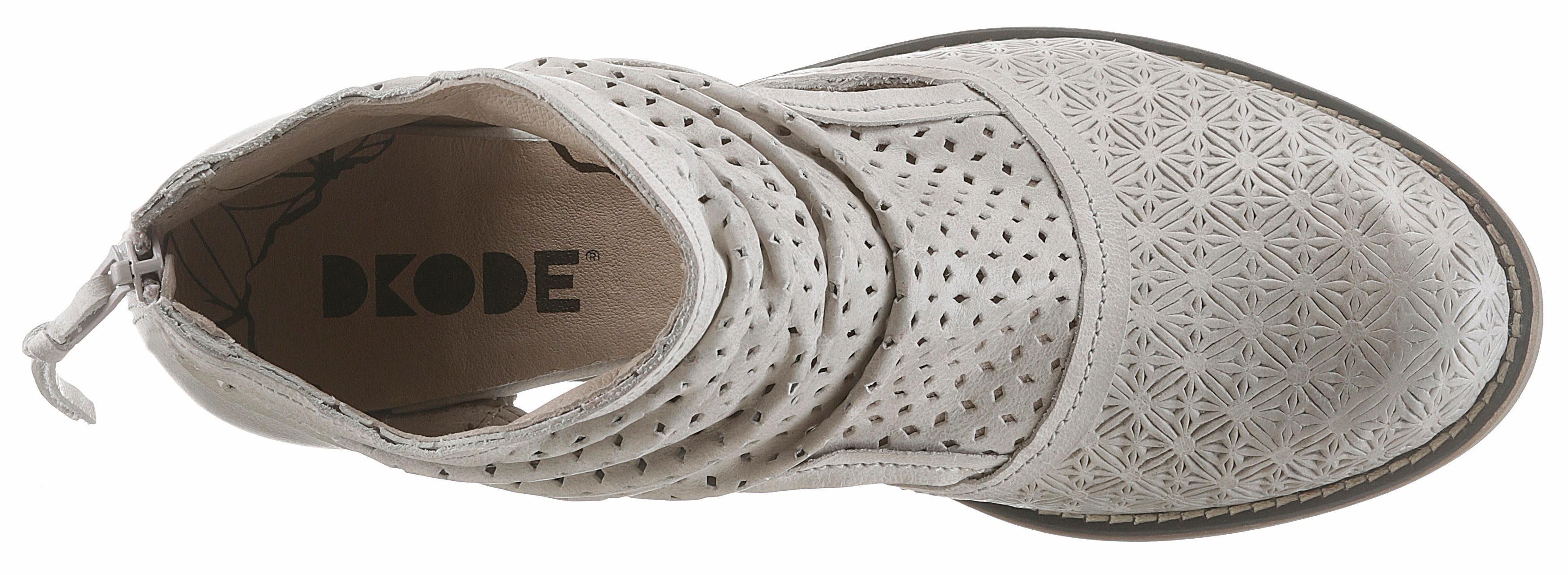 DKODE Bahal Stiefelette, mit modischen Lasercut  hellgrau