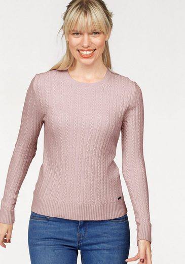 Superdry Rundhalspullover LUXE MINI CABLE KNIT, mit Zopfmuster
