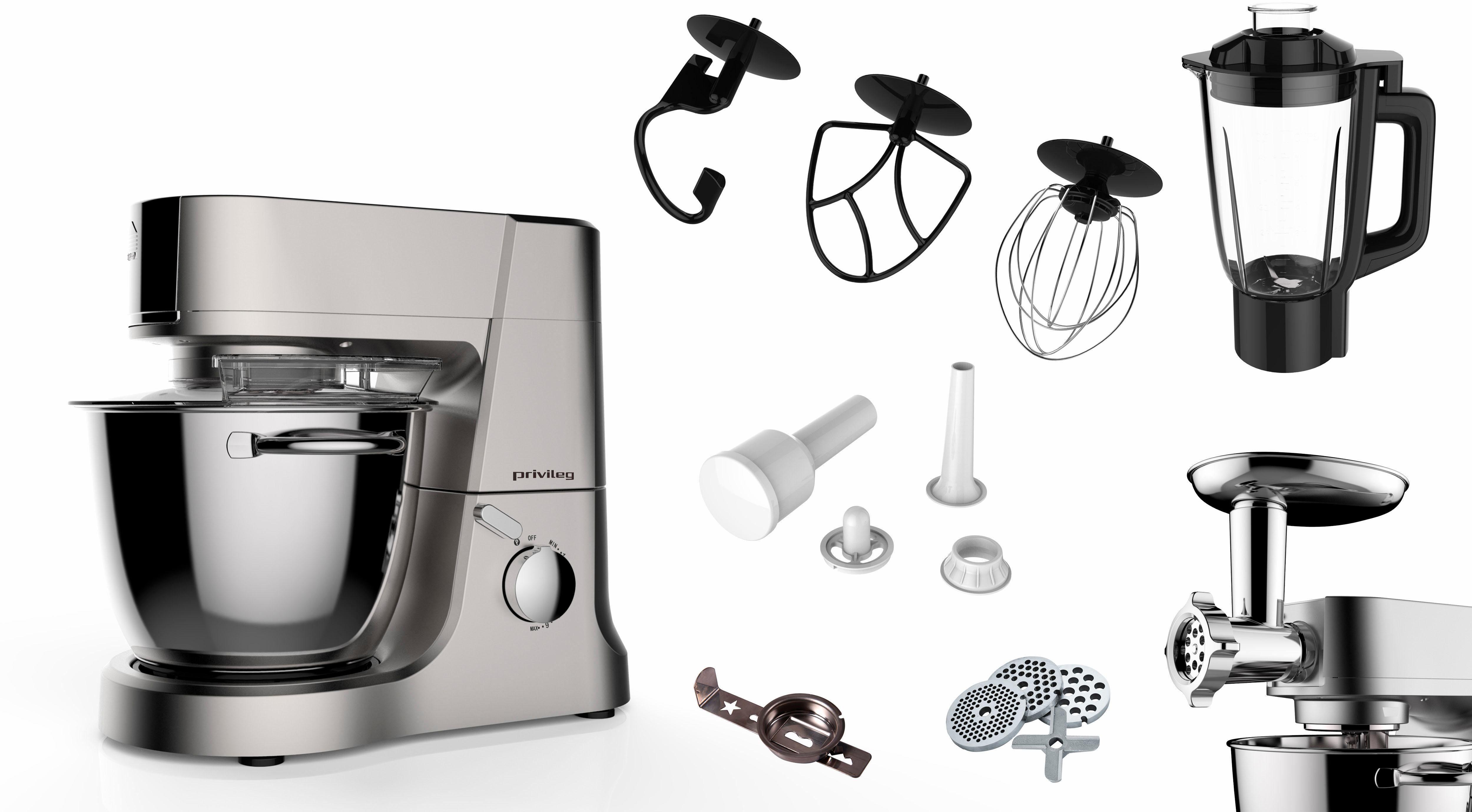 Privileg Multifunktions-Küchenmaschine mit großer Edelstahlschüssel und umfangreichem Zubehör