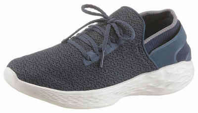 Skechers Damen You-Rise Slip on Sneaker, Schwarz (Black/White), 38 EU