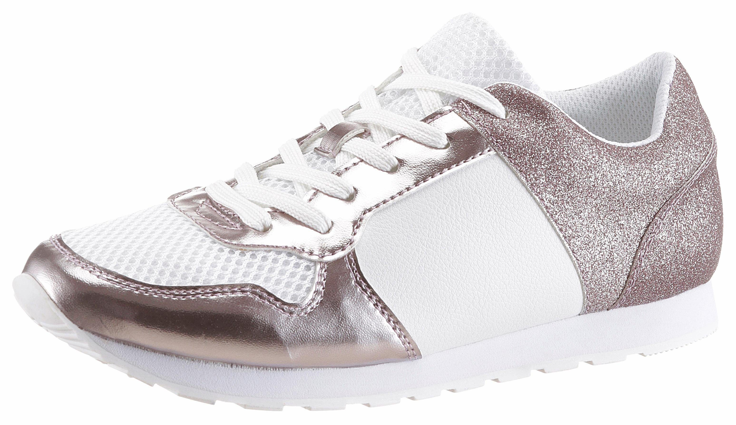CITY WALK Sneaker, mit Metallic-Einsatz und Glitter-Details, silber, 41 41