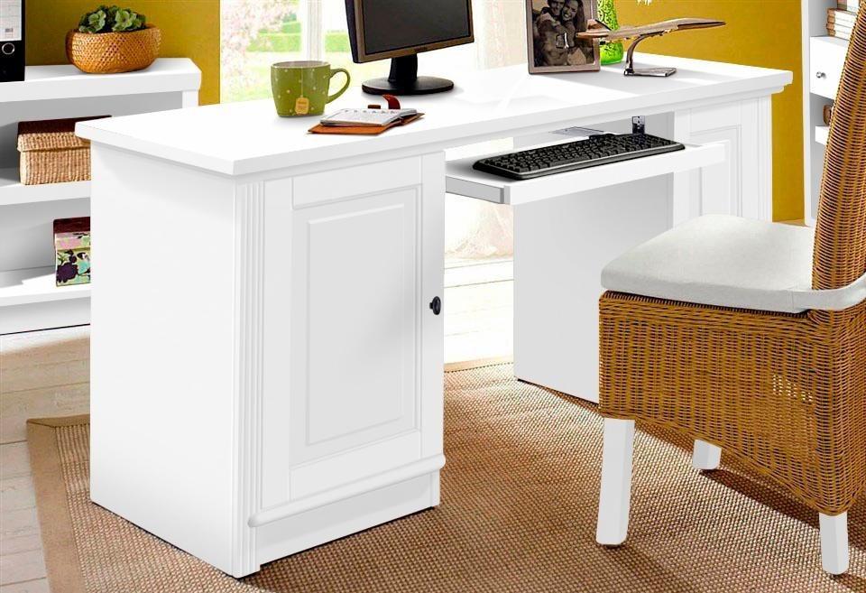 Computertisch »Soeren« | Büro > Bürotische > Computertische | Weiß | Massivholz - Gebeizt - Holz | Home affaire
