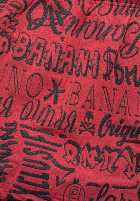Herren Bruno Banani Boxer-Badehose mit wilden Schriftzügen rot | 04039327972598