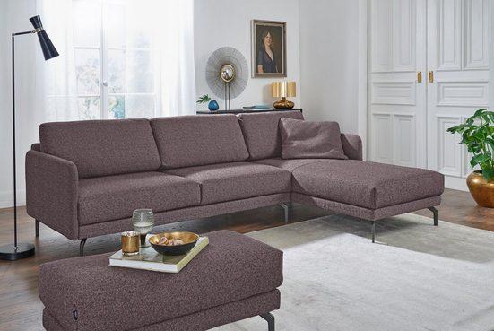 hülsta sofa Ecksofa »hs.450«, Armlehne sehr schmal, Breite 274 cm, Alugussfuß Umbragrau, wahlweise Stoff oder Leder