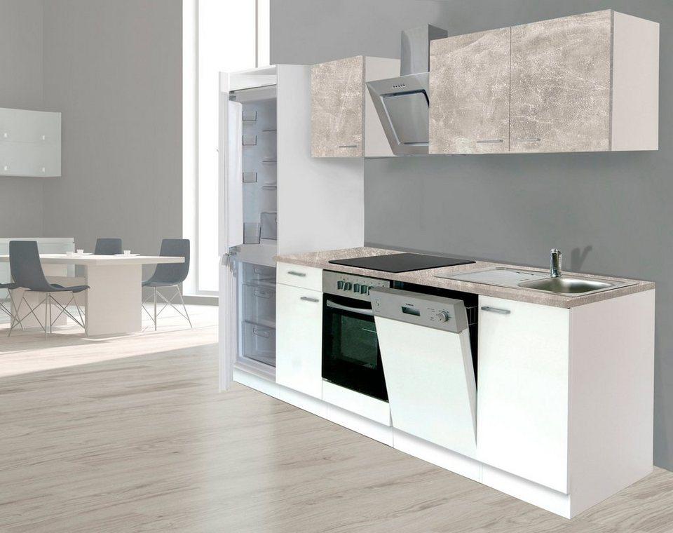 respekta k chenzeile mit e ger ten breite 280 cm. Black Bedroom Furniture Sets. Home Design Ideas