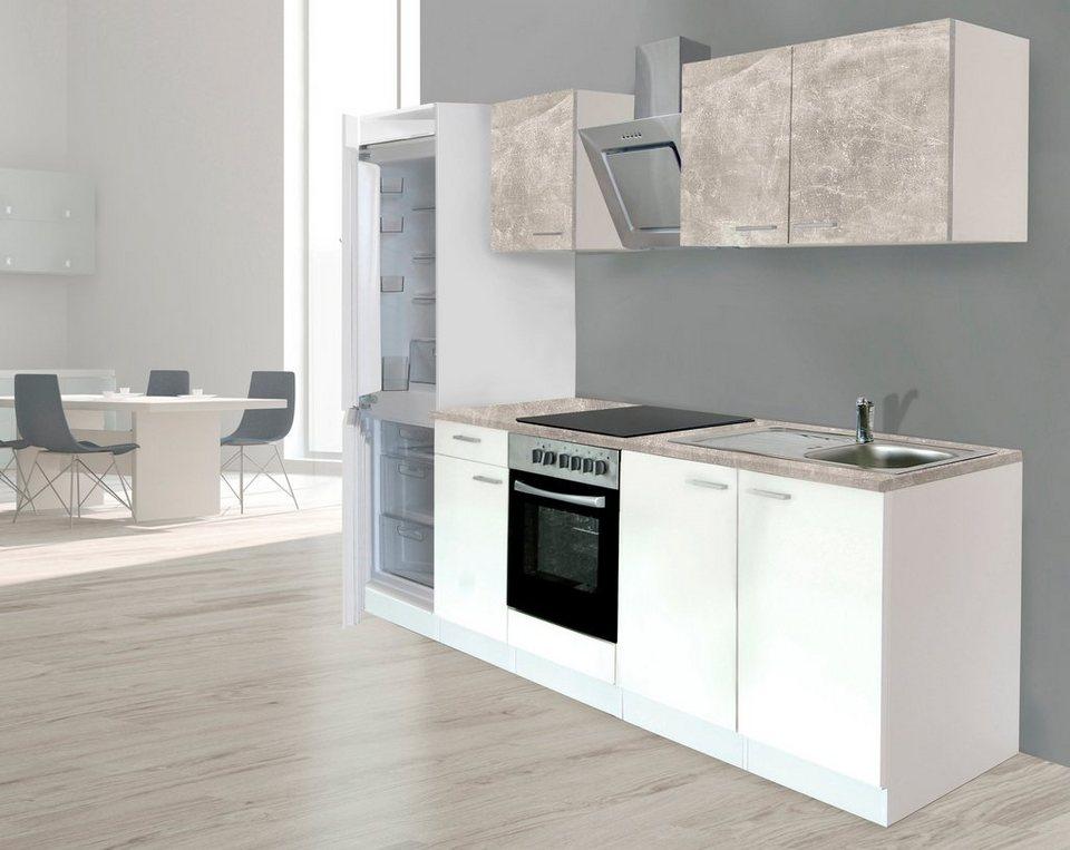 respekta k chenzeile mit e ger ten breite 270 cm stangengriffe aus metall edelstahl look. Black Bedroom Furniture Sets. Home Design Ideas