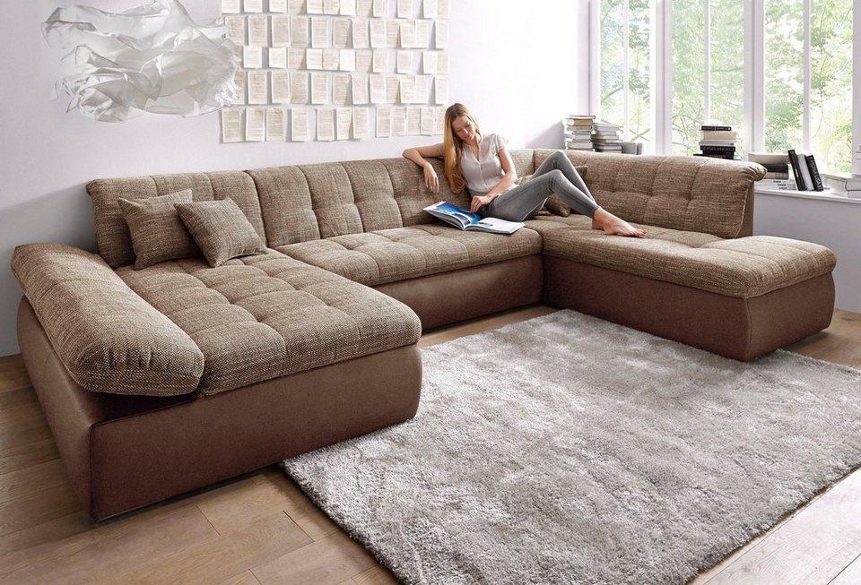 domo collection wohnlandschaft xxl wahlweise mit bettfunktion und armlehnenverstellung online. Black Bedroom Furniture Sets. Home Design Ideas