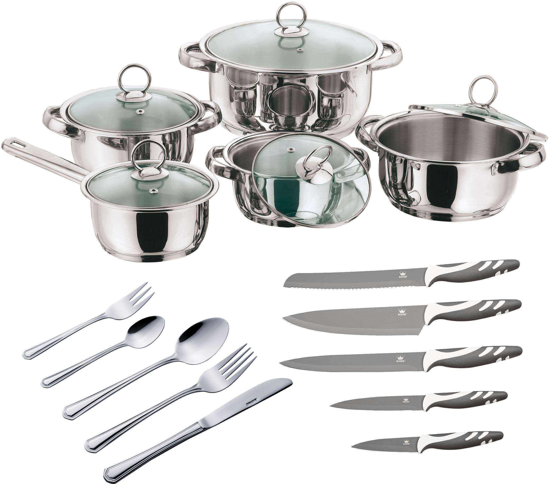 KING Küchen-Vorteils-Set, 75 Teile, Besteck, Topf-Set, Messer-Set