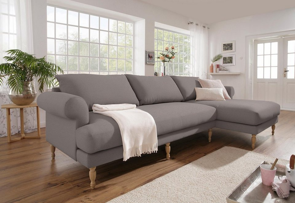 home affaire ecksofa lex gedrechselte holzf e 3 qualit ten lose kissen online kaufen otto. Black Bedroom Furniture Sets. Home Design Ideas