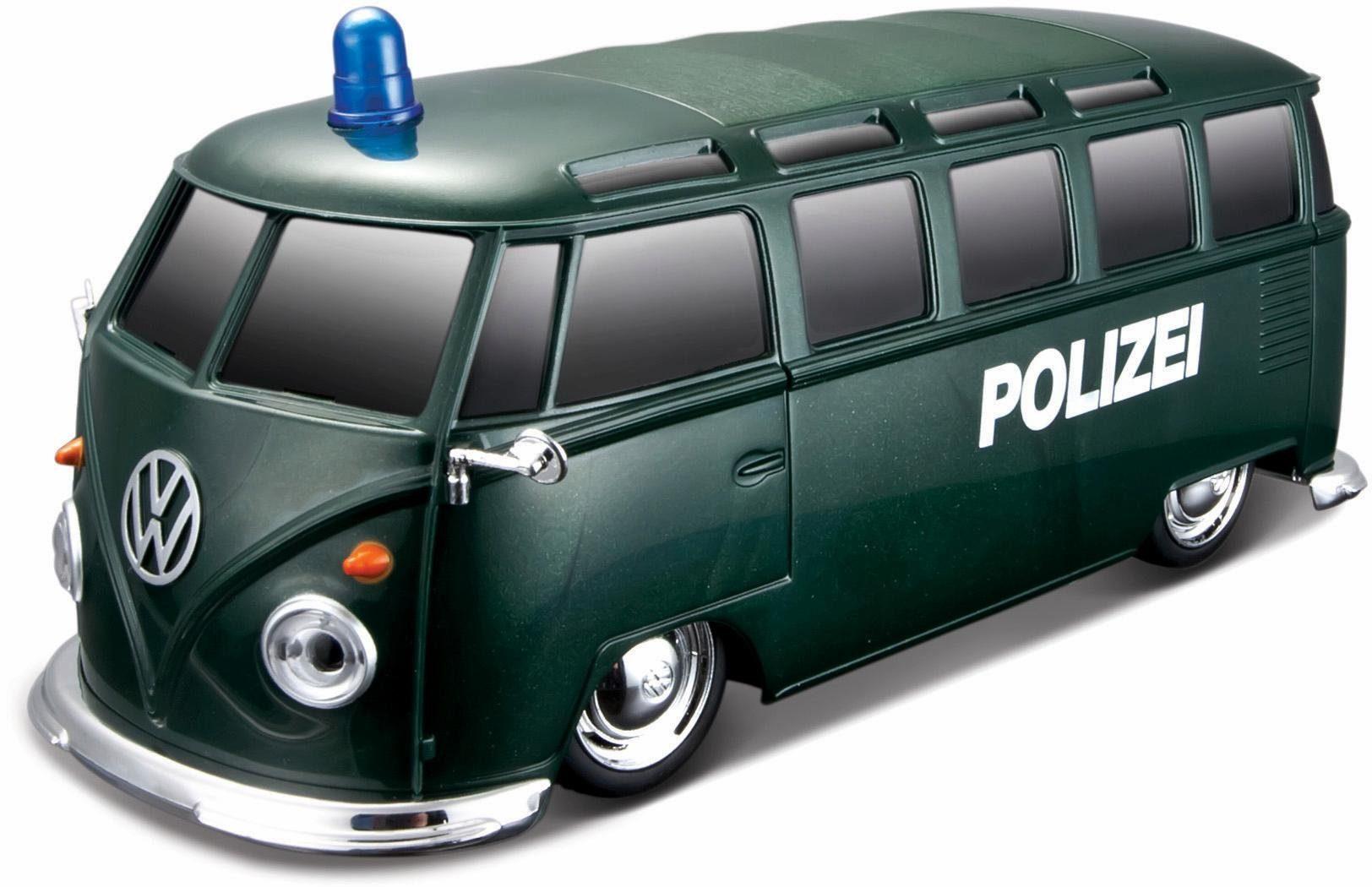 Maisto Tech® RC Komplett Set mit Licht und Sound, »VW Bus Polizei, 1:24, 27 MHz, grün«