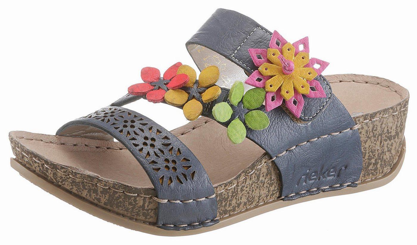 Rieker Pantolette mit bunter Blütenverzierung   Schuhe > Clogs & Pantoletten > Klassische Pantoletten   Blau   Rieker
