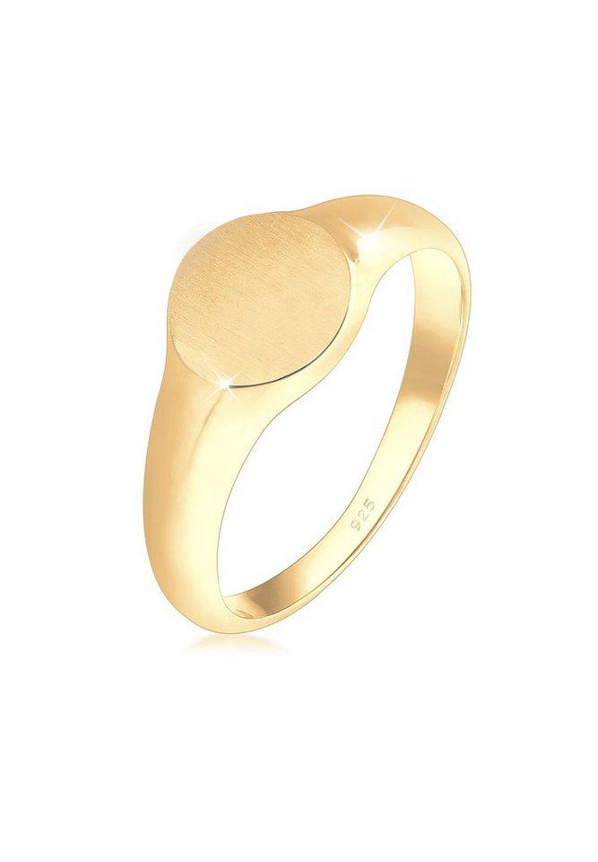 Elli Ring »Siegelring Royal Matt Geo Basic Trend 925 Silber« | Schmuck > Ringe > Siegelringe | Goldfarben | Elli