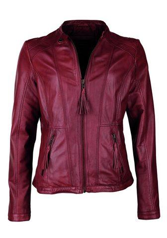 Куртка кожаная с короткий воротник сто...