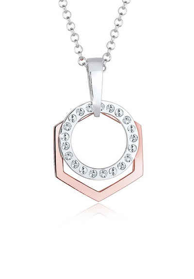 Elli Halskette »Hexagon Kreis Swarovski Kristalle 925 Silber«