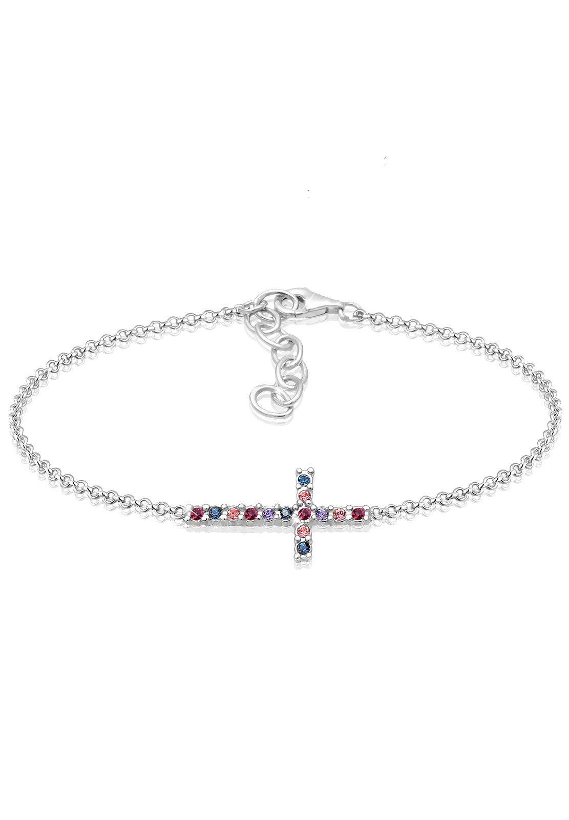 Elli Armband »Kreuz Multi-Color Swarovski® Kristalle 925 Silber«