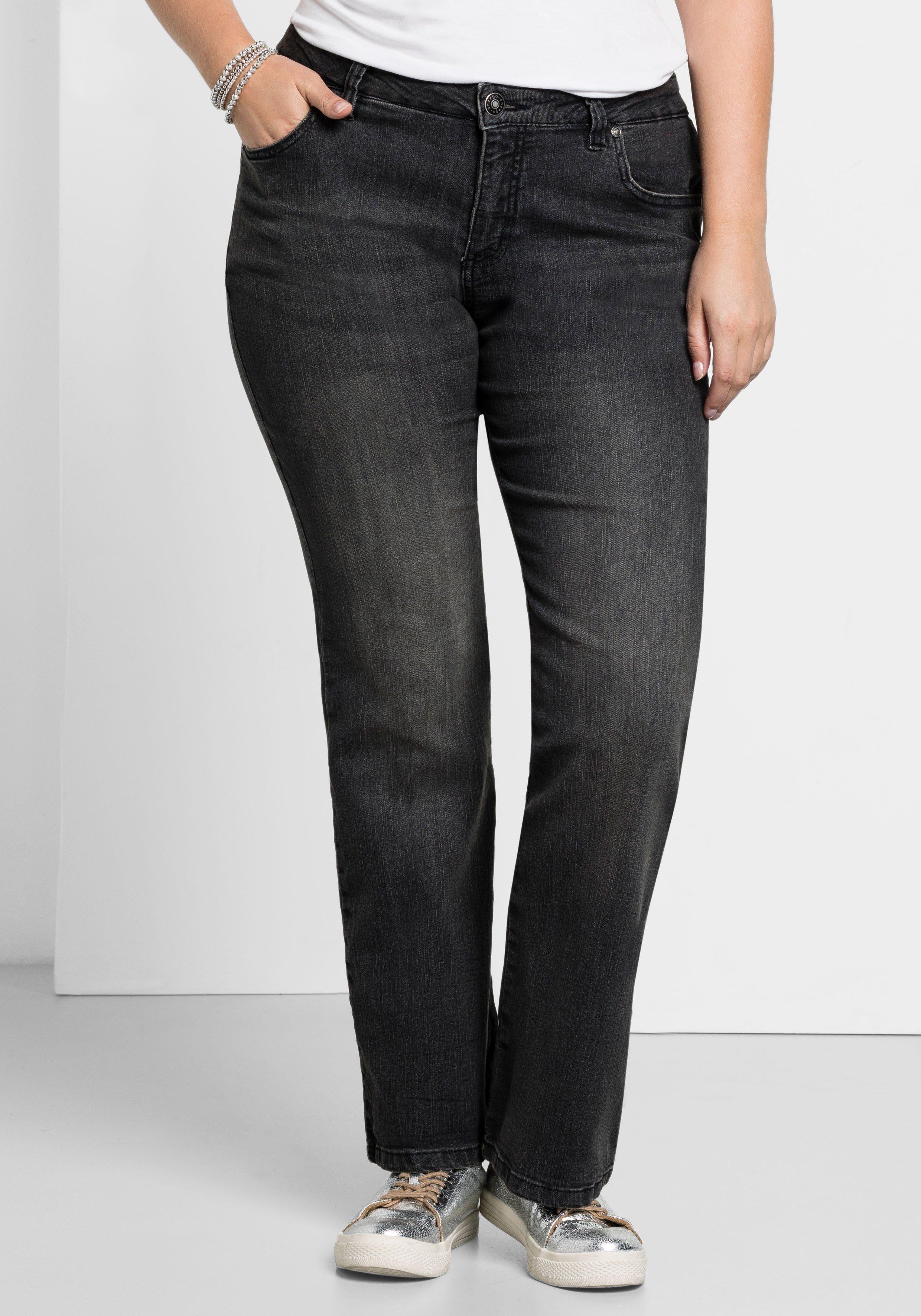 sheego Jeans Maila Bootcut Boot Cut Damen Hose Pants Stretch Denim Kurzgröße