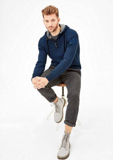s.Oliver RED LABEL Pullover mit Kapuze und Reißverschluss