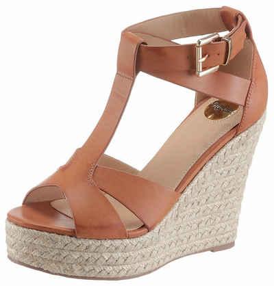 Next Sandalette mit Keilabsatz in Espadrille-Optik, goldfarben, Shimmer
