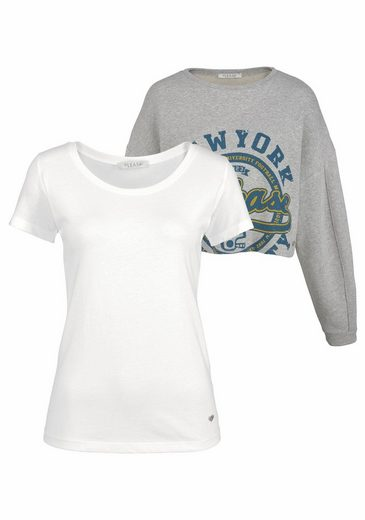 Please Jeans Sweatshirt (Set, 2 tlg., mit T-Shirt), mit Frontprint