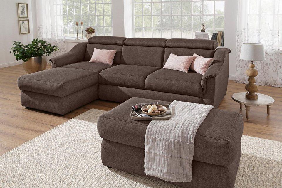 home affaire ecksofa aura wahlweise mit kopfteilverstellung und zus tzlich bettfunktion. Black Bedroom Furniture Sets. Home Design Ideas