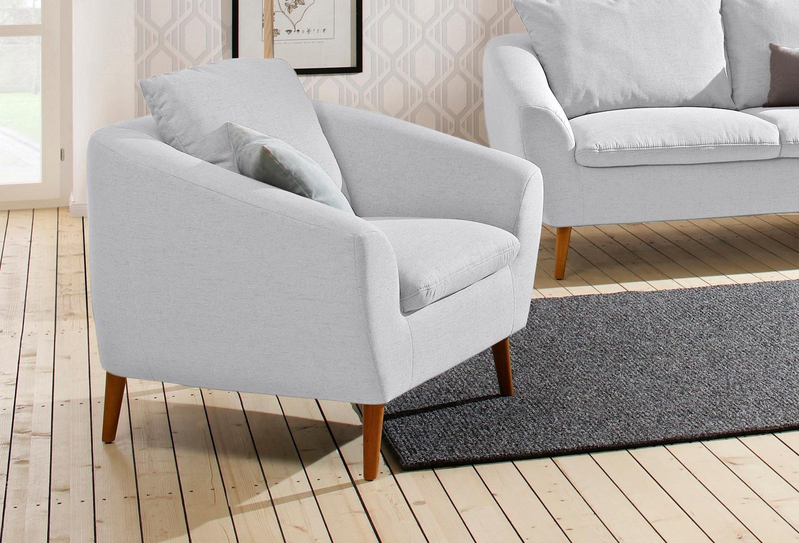 Home affaire Sessel »Amadeo« im skandinavischem Design, lose Rückenkissen - broschei
