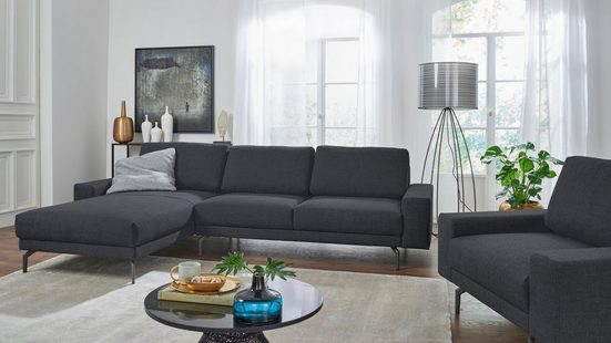 hülsta sofa Ecksofa »hs.450«, Armlehne breit niedrig, Breite 294 cm, Alugussfuß Umbragrau, wahlweise in Stoff oder Leder