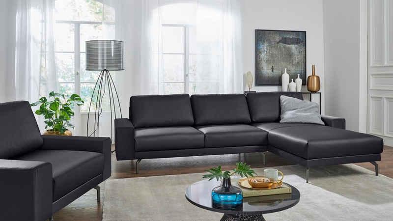 hülsta sofa Ecksofa »hs.450«, Armlehne breit niedrig, Breite 274 cm, Alugussfuß Umbragrau, wahlweise in Stoff oder Leder
