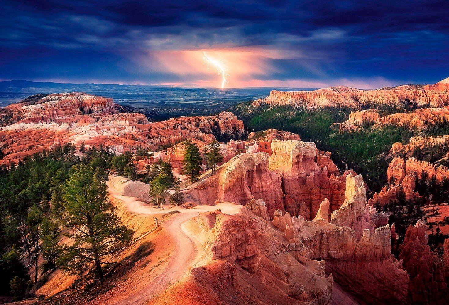 IDEALDECOR Fototapete »Lightning over Bryce Canyon«