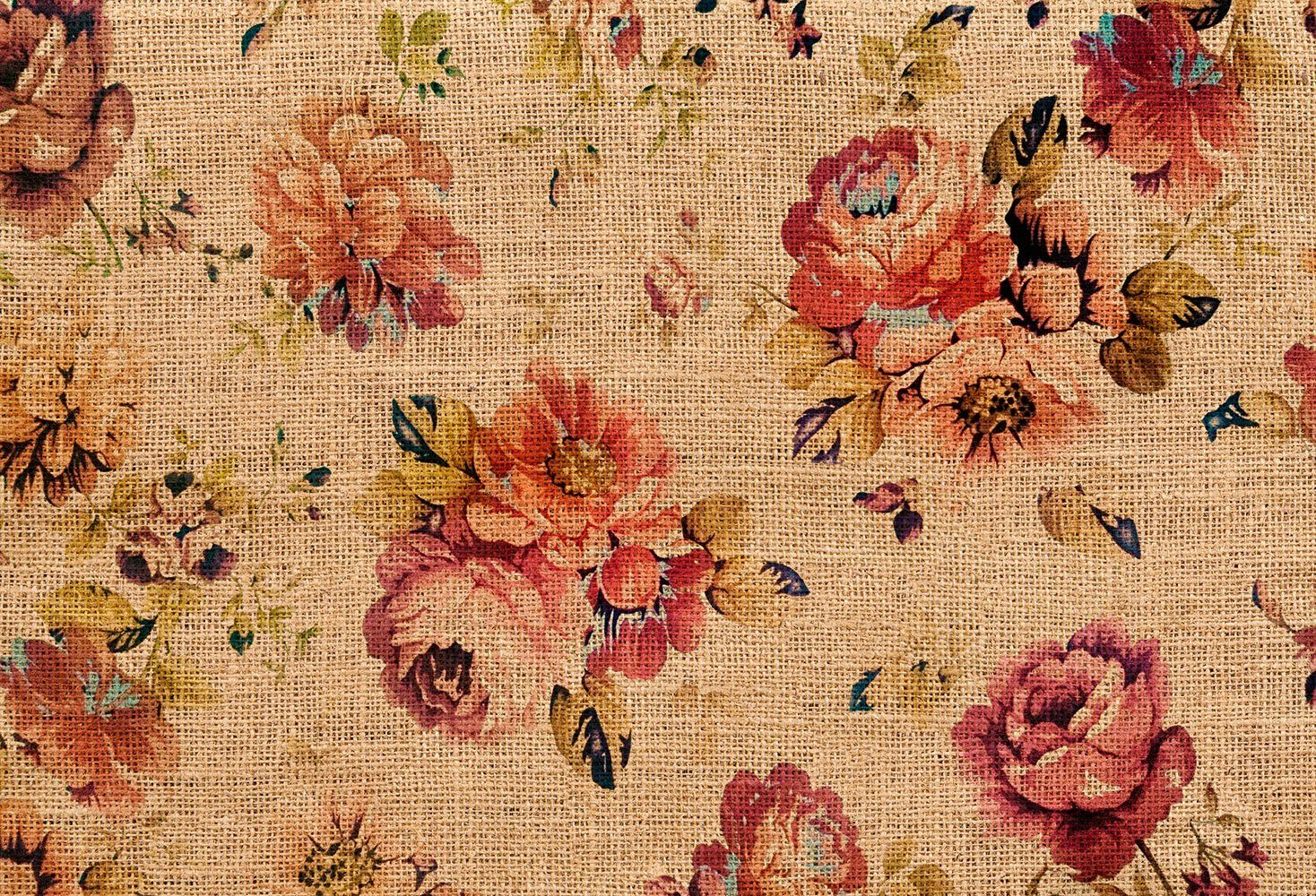 IDEALDECOR Fototapete »Flowers on Jute«