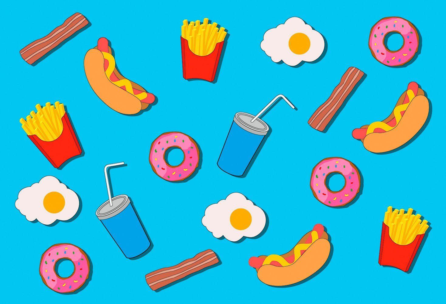IDEALDECOR Fototapete »Fastfood Love«