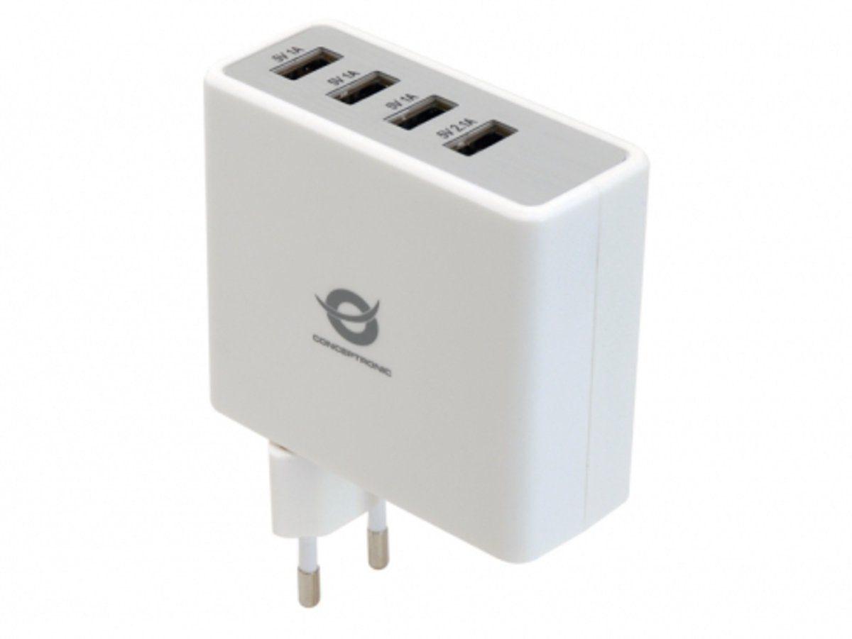 Conceptronic Lader »4-Port USB Ladegerät mit 5.1A«