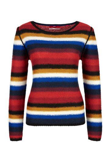 s.Oliver RED LABEL Streifen-Pullover mit Alpaka