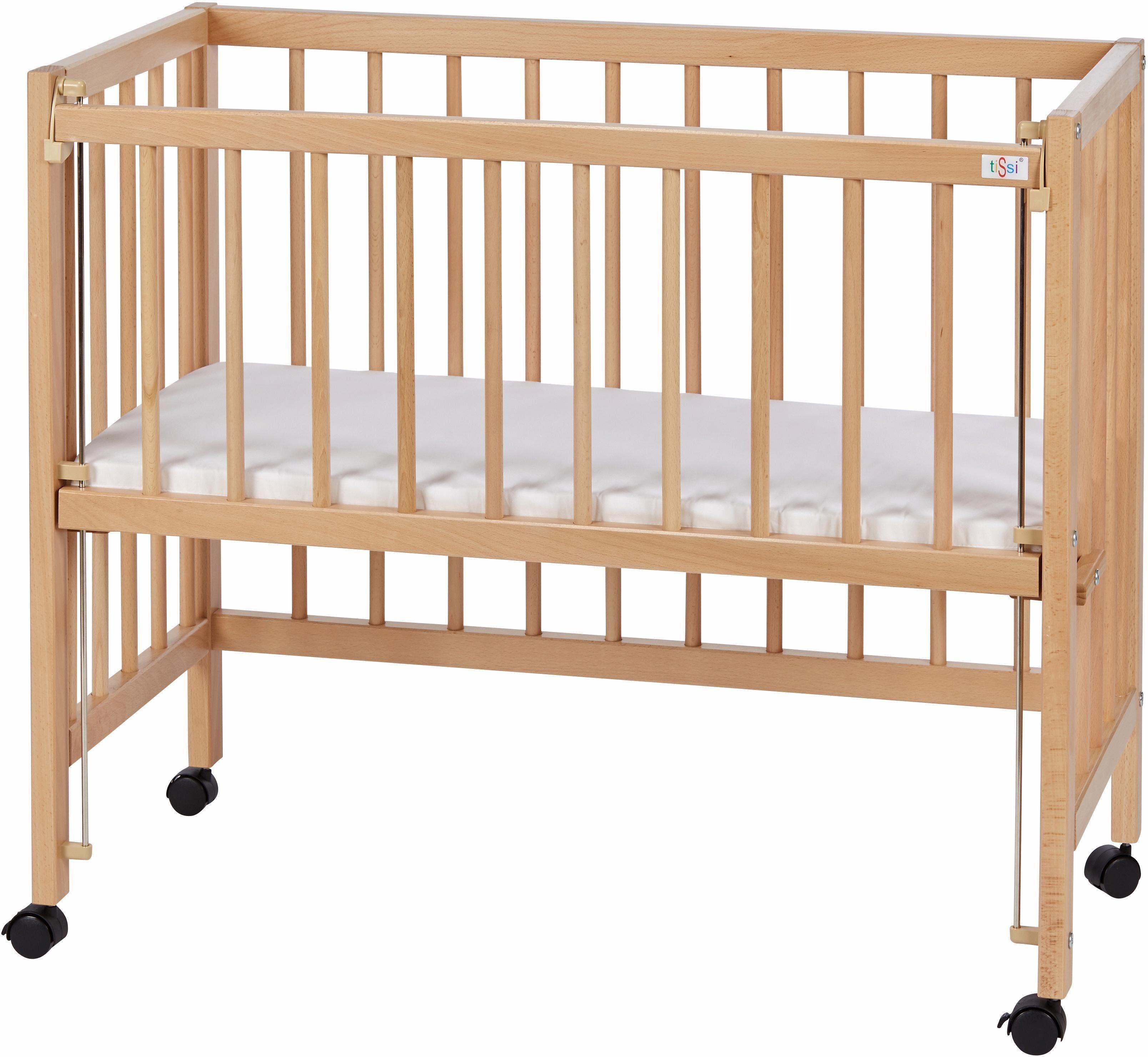 TiSsi Baby Beistellbett Anstellbett Buche weiß mit Matratze