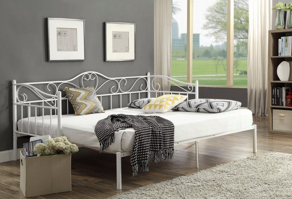 home affaire metallbett sina mit geschwungenem kopf und. Black Bedroom Furniture Sets. Home Design Ideas