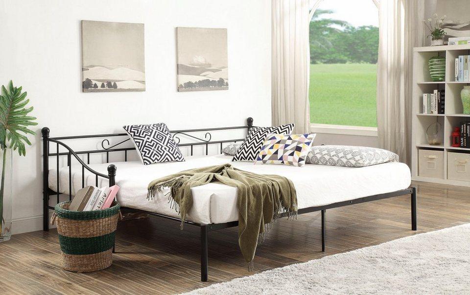 home affaire metallbett sara mit dekorativem kopf und fu teil ausziehbar auf 180 200 cm. Black Bedroom Furniture Sets. Home Design Ideas
