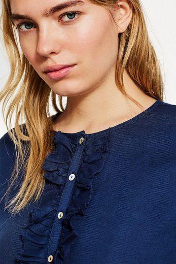 ESPRIT Fließende Bluse mit Rüschen-Knopfleiste