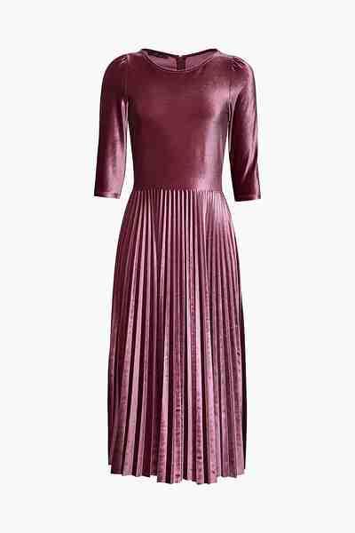ESPRIT COLLECTION Kleid aus Stretch-Samt mit Plisseerock