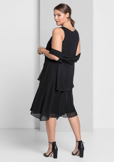 sheego Style Cocktailkleid, mit Perlenstickerei