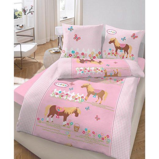 Wende- Kinderbettwäsche Pony, Biber, 135 x 200 cm