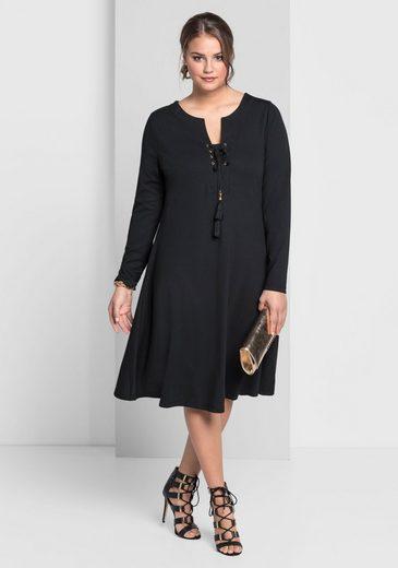 sheego Style Jerseykleid, Mit abnehmbare Quasten