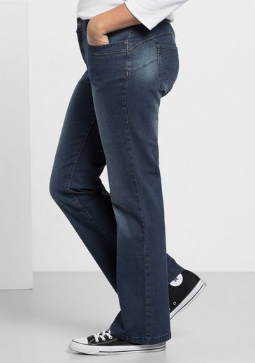 sheego Denim Bootcut-Jeans, Individuelle Used Effekte