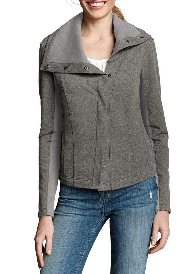 Damen Eddie Bauer Sweatshirt Asymmetrische Sweatjacke grau | 04045785319479