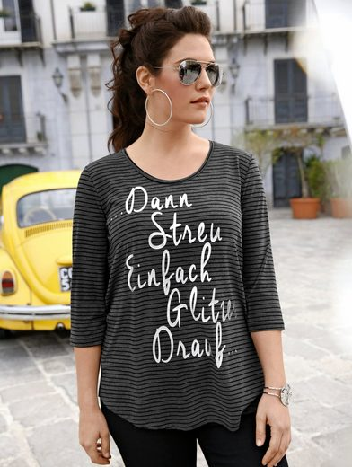 Janet und Joyce by Happy Size Shirt gestreift mit Folienprint